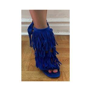 Fringly blue heels